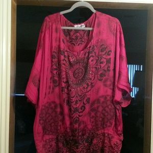 Tops - Deep Red/Black Floral Top 26/28